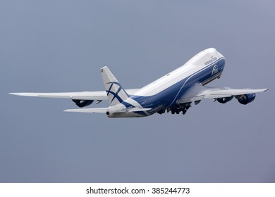 SHEREMETYEVO, MOSCOW REGION, RUSSIA - JULY 20, 2012: Air Bridge Cargo airlines Boeing 747-8F taking off at Sheremetyevo international airport.