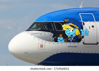 SHEREMETYEVO, MOSCOW REGION, RUSSIA - JUNE 2, 2019: Airbus A320 civil airliner of Brussels airlines in special Smurfs livery at Sheremetyevo international airport.