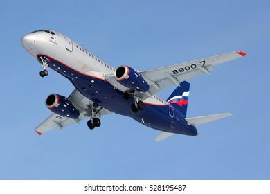 SHEREMETYEVO, MOSCOW REGION, RUSSIA - MARCH 24, 2012: Aeroflot Sukhoi Superjet-100 RA-89007 landing at Sheremetyevo international airport.