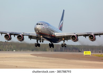 SHEREMETYEVO, MOSCOW REGION, RUSSIA - SEPTEMBER 13, 2012: Aeroflot Ilyushin IL-96-300 RA-96010 taking off at Sheremetyevo international airport.