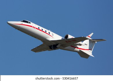 SHEREMETYEVO, MOSCOW REGION, RUSSIA - SEPTEMBER 13, 2012: Learjet 60 ES-III of Panaviatic taking off at Sheremetyevo international airport.