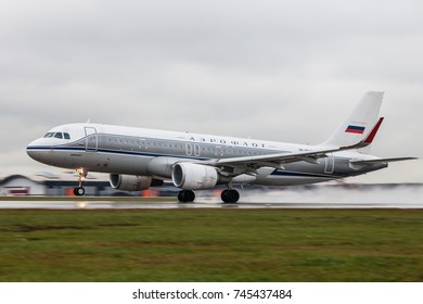 SHEREMETYEVO, MOSCOW, RUSSIA - 29 OCTOBER 2017: Airbus A-320 in vintage livery of Aeroflot takes off from Sheremetyevo international airport in rainy day.
