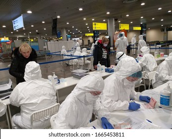 Sheremetyevo, Moscow, Russia - March 4, 2020: Medical inspection and survey for COVID-19 fot flight arrived from Italy in Sheremetyevo airport, Terminal F, Russian Federation