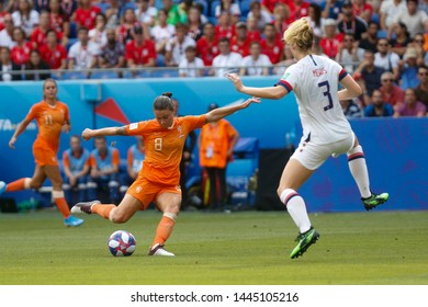 Sherida Spitse of Netherlands and Samantha Mewis of USA during the FIFA Women's World Cup France 2019 Final football match USA vs Netherlands on 7 July 2019 Groupama Stadium Lyon France