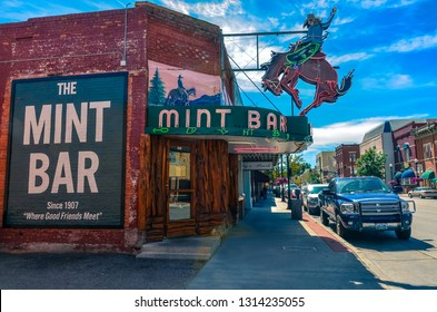Sheridan, WY / USA - 09-01-2014: Wyoming's legendary meeting place, the Mint Bar is Sheridan's oldest bar and the best place to order a ditch, straight up whiskey and water.