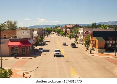 Sheridan, Wyoming /USA  July 2018 The view over main street.
