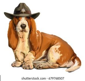 Sheriff Basset hound watercolor painting
