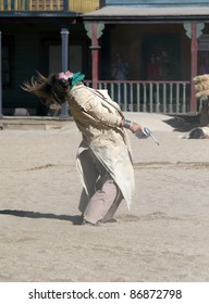 Sheriff and Cowboy shootout at Mini Hollywood, Tabernas,Almeria Province, Andalusia, Spain