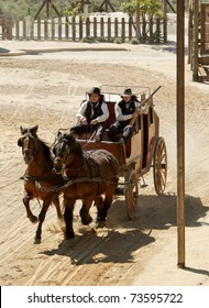 Sheriff and Deputy driving a stagecoach at Mini Hollywood, Almeria, Andalusia, spain