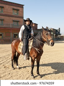 Sheriff and his horse at Mini Hollywood, Tabernas, Almeria Province, Andalusia, Spain