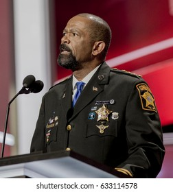 Sheriff of Milwaukee County WIsconsin, David Clarke Jr. addresses the Republican National Convention at the Quicken Arena in Cleveland, Ohio, July 18, 2016