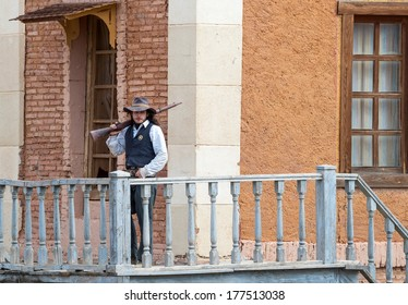 Sheriff on guard duty at Mini Hollywood, Tabernas, Almeria Province, Andalusia, Spain