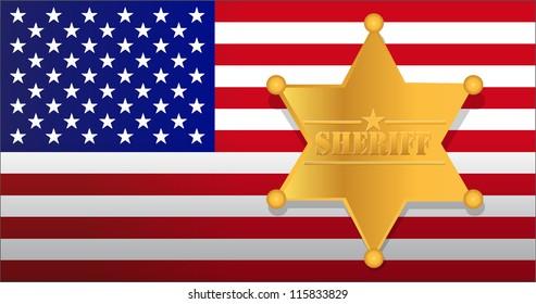 Sheriff star and us flag illustration design
