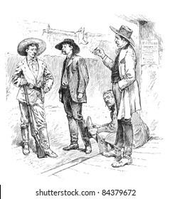 The Sheriff of Tombstone, Arizona, with his constituents. Illustration from Harper's Monthly Magazine march 1883.