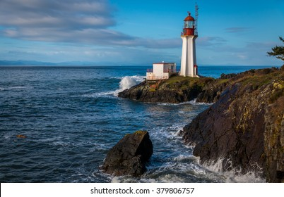 Sheringham Lighthouse  on Vancouver Island British Columbia Canada on a beautiful spring morning.