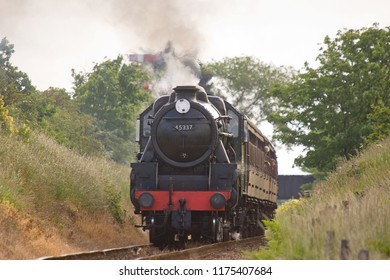 SHERINGHAM, NORFOLK, UK - JUNE 23, 2012: LMS Stanier Class 5 4-6-0 No. 45337 operates a passenger service at the North Norfolk Railway during the 'Titfield Thunderbolt'  event.