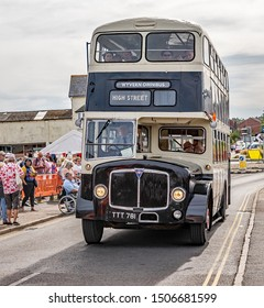 Sheringham, Norfolk, UK – September 14 2019. Vintage 1940s double decker bus transporting passengers to Sheringham from Holt during the annual forties weekend