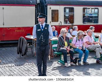 Sheringham, Norfolk, UK – September 14 2019.Train conductor on Sheringham train station on the Norfolk Poppy Line during the annual 1940s weekend