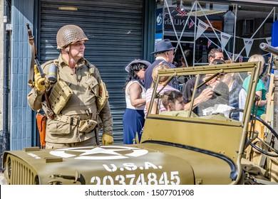 Sheringham, Norfolk, UK – September 14 2019. Man dressed up as 1940s soldier during the annual forties weekend in Sheringham Norfolk