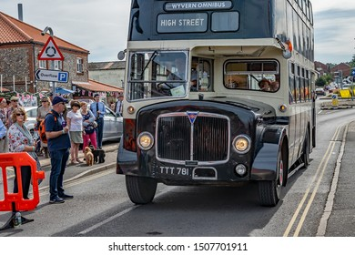 Sheringham, Norfolk, UK – September 14 2019. Vintage bus used during the 1940s weekend to transports people from Sheringham to Holt and vice versa