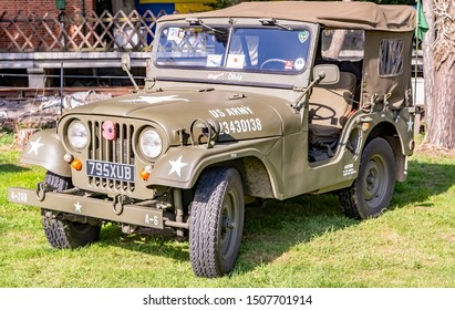 Sheringham, Norfolk, UK – September 14 2019. 1940s retro US military off road vehicle jeep on display at the annual forties weekend