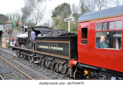 SHERINGHAM, NORFOLK/UK - February 27, 2009. L&YR loco 1300, built in 1896 (later LMS 12322 and BR 52322) at Sheringham on the North Norfolk Railway, England
