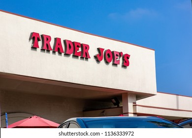 Sherman Oaks, California/ USA - July 17, 2018. Trader Joe's exterior and sign. Trader Joe's is an American privately held chain of specialty grocery stores .