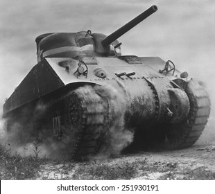 The Sherman tank was the primary battle tank of the U. S. and Western Allies from 1942-45. Nearly 50,000 were produced during World War 2.