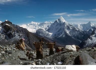 Sherpanis carrying climbing loads over 17,000 feet. Chyungma PassKhumbu Himalaya,Nepal
