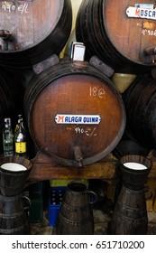 Sherry Barrels in the famous authentic Bodega Antigua Casa de Guardia, Malaga Spain. September 2016