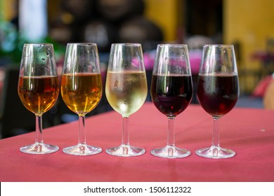Sherry wine tasting, selection of different jerez fortified wines from dry to sweet and very sweet, Jerez de la Frontera, Andalusia, Spain