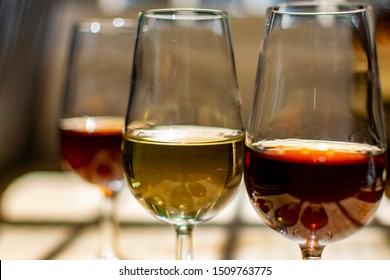 Sherry wine tasting, selection of different sweet jerez fortified wines made from pedro ximenez and muscat white grapes in Jerez de la Frontera, Andalusia, Spain