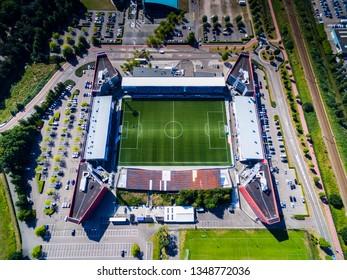 's-Hertogenbosch, Netherlands - 09-09-2016: Football stadium and soccer field of FC Den Bosch seen from above.