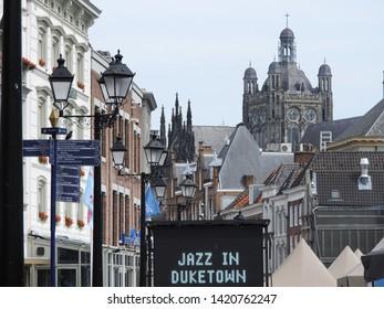 's-Hertogenbosch, The Netherlands - 10 June 2019: famous Jazz in Duketown, open air festival in centre Den Bosch.