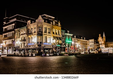 's-Hertogenbosch, Netherlands - december 15 2015: Markt in Den Bosch at night with a view on it's cafe's and bars.