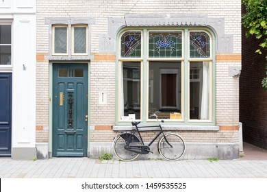 's-Hertogenbosch, The Netherlands - May 2019. View of an old characteristic house front / facade in the center of Den Bosch, The Netherlands.