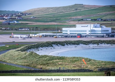 SHETLAND ISLAND, SCOTLAND - SEPTEMBER 02, 2017: Sumburgh Airport at Shetland Islands, Scotland