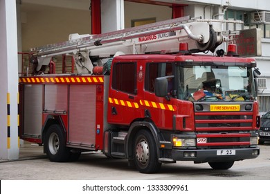 Sheung Wan Fire Station, Hong Kong, 2/8/2018: Fire Trucks are departing for an operation.
