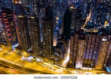 Sheung Wan, Hong Kong, 02 October 2018:- Hong Kong city at night