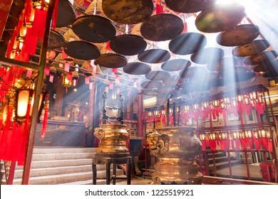 Sheung Wan, Hong Kong 08 May 2017:-Incense Coils in Man Mo temple, Hong Kong