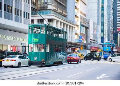 Sheung Wan, Hong Kong - January 14, 2018 :Hong Kong tram for travel and transportation at Sheung Wan