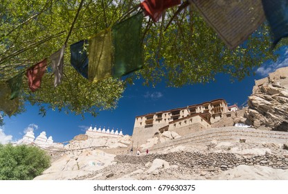Shey palace monastery with blue sky background . Shey was the summer capital of Ladakh in the past.