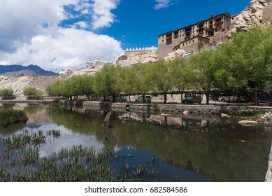 Shey palace monastery with blue skyand reflection . Shey was the summer capital of Ladakh in the past.