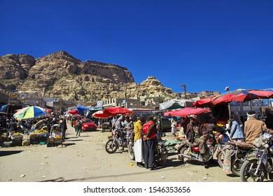 Shibam / Yemen - 02 Jan 2013: The local market in Shibam village in mountains of Yemen