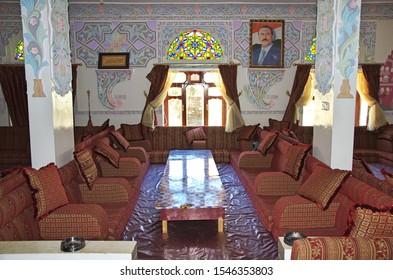 Shibam / Yemen - 02 Jan 2013: The cafe in Shibam village in mountains of Yemen