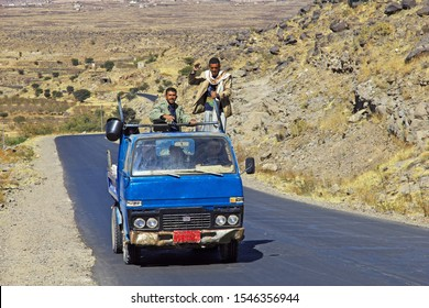 Shibam / Yemen - 02 Jan 2013: The car on the road in mountains of Yemen