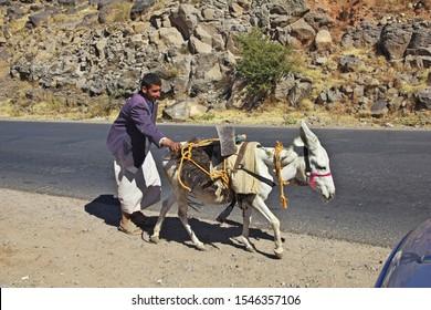 Shibam / Yemen - 02 Jan 2013: Man with the donkey in Shibam village in mountains of Yemen