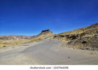 Shibam / Yemen - 02 Jan 2013: The road in mountains of Yemen
