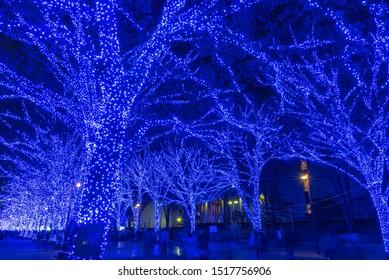 渋谷青い洞窟の冬のイルミネーションフェスティバル、美しい眺め、人気の観光アトラクション、休日の旅行先、日本の東京でのロマンチックなライトアップイベント。翻訳:『青い洞窟』