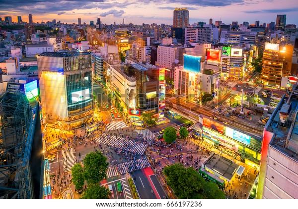 Shibuya Crossing von oben bei Dämmerung in Tokio, Japan